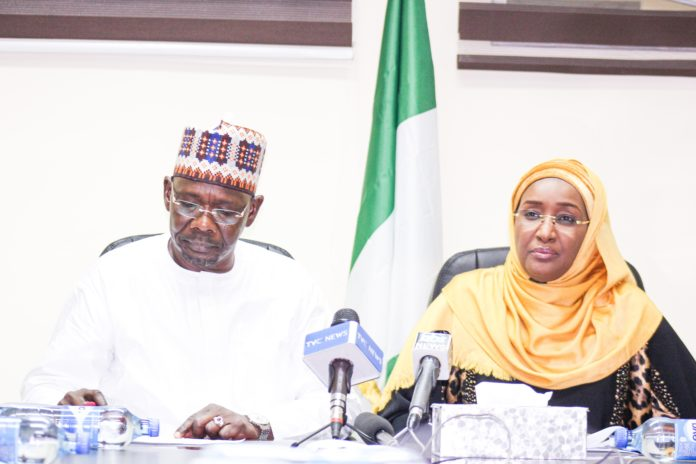 Right; The Honourable Minister of Humanitarian Affairs, Disaster Management and Social Development Hajiya Sadiya Umar Farouq, Left; The Executive Governor of Nasarawa State, His Excellency, Engr. Abdullahi .A. Sule during his courtesy visit to the Ministry at the Federal Secretariat Abuja.