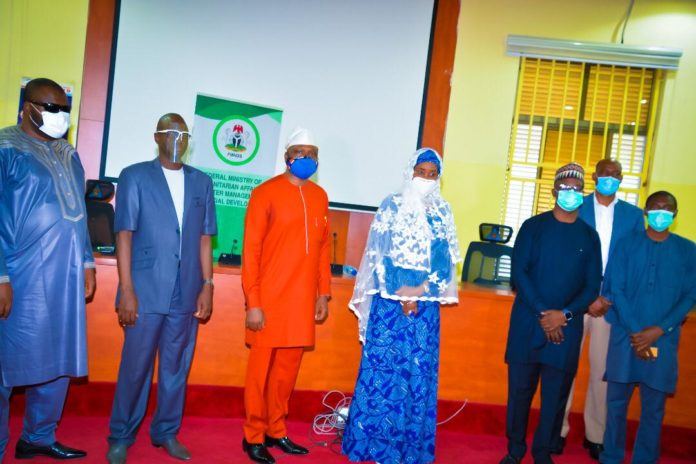 (4th left) Honourable Minister of Humanitarian Affairs, Disaster Management and Social Development, Sadiya Umar Farouq, (1st left) Special Adviser on Special Needs to the Minister, Danjuma Atta, (2nd left) Director Humanitarian Affairs, Alhaji Ali Grema, (1st right) David Sabo of Christophel Blinden Mission (2nd right) Country Director, Leprosy Mission in Nigeria, Dr David Sunday Udo