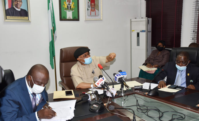 The Honoruable Minister Labour and Employment, Chris Ngige (middle), Permanent Secretary, Labour and Employment, William Alo (left) and President, Nigeria Medical Association (NMA), Prof. Innocent Ujah(right) during the courtesy visit of NMA to the Ministry.