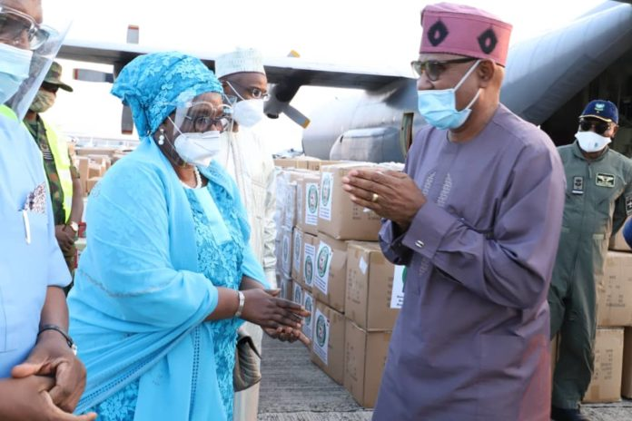 Senator Dr. Olorunnimbe Mamora flags off NAF logistics support to distribute COVID-19 Medical Supplies to ECOWAS West African Health Organization member countries, Tuesday, 4th August, 2020