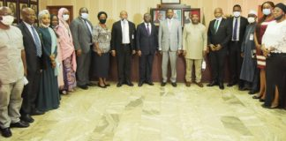 Honourable Attorney General Of The Federation/Minister Of Justice, Abubakar Malami San, Solicitor –General Of The Federation And Permanent Secretary, Federal Ministry Of Justice, Dayo Apapa SAN, Executive Secretary National Human Right Commission, Tony Ojukwu, Esq. In A Group Photograph With Members Of The Committee Of NHRC And Directors Of Federal Ministry Of Justice, 19th October, 2020 At HAGF's Conference Room