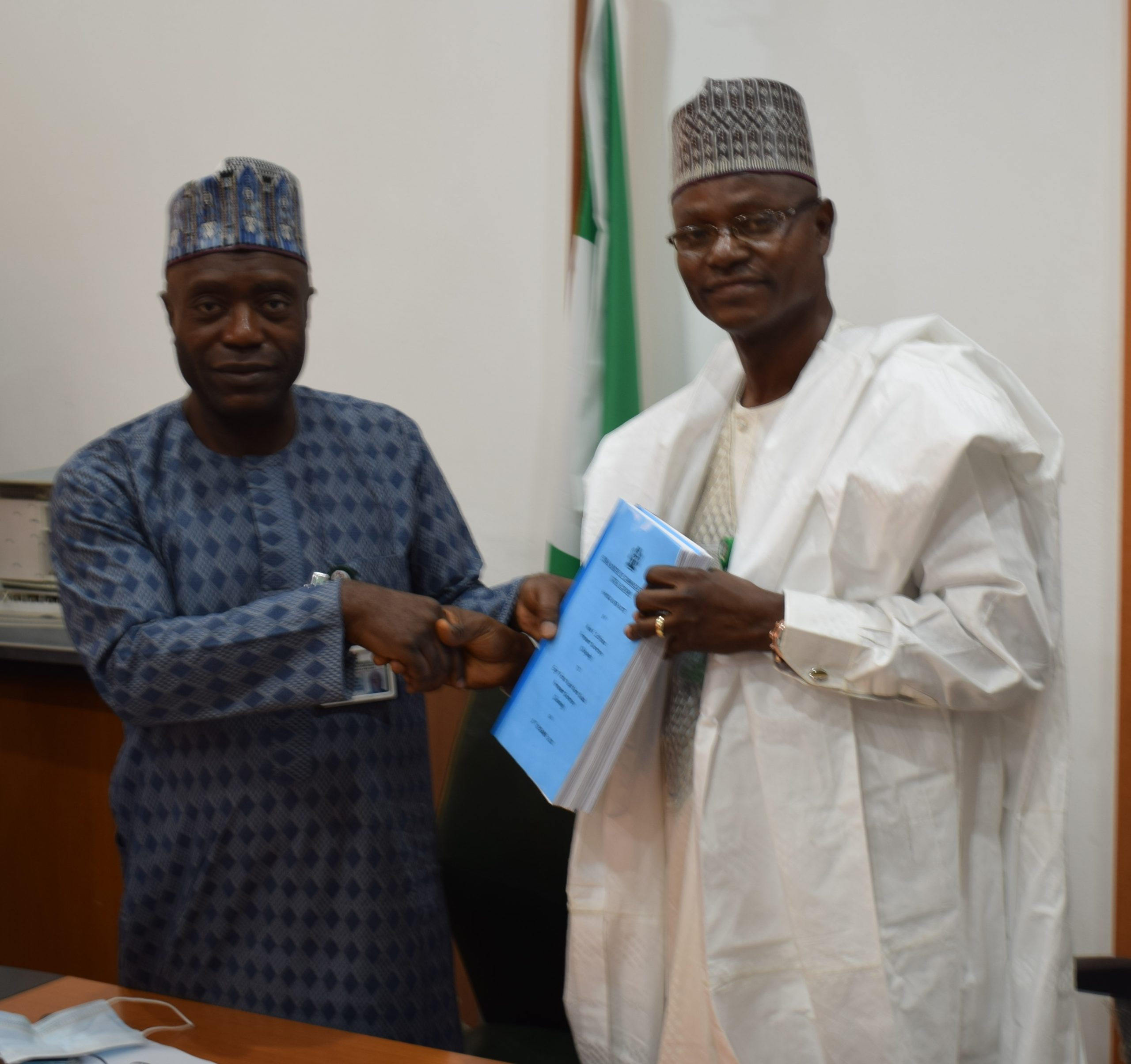 L-R: Outgoing Permanent Secretary, Mr. Musa Istifanus and incoming Permanent Secretary, Federal Ministry of Communications and Digital Economy, Engr. Festus Yusuf Daudu during the official handing over ceremony which took place today at the Ministry's headquarters in Abuja.