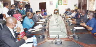 The cross section of Honourable Minister of Labour and Employment, Dr Chris Ngige with representatives of Federal Government and NARD during their meeting in Abuja