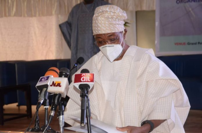 Minister of Interior, Ogbeni Rauf Aregbesola, presenting his remarks at the event.