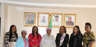 The Minister of State for Industry, Trade and Investment, Amb. Mariam Yalwaji Katagum (Centre) with the executive members of Women in Management, Business and Public Service (WIMBIZ) when the association paid a courtesy visit to the Minister in Abuja recently.